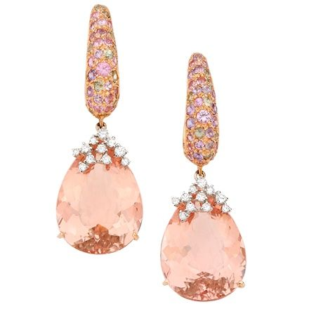 Brumani - White and Rose Gold Panaché Earrings with White and Brown Diamonds, Morganite and Sapphires