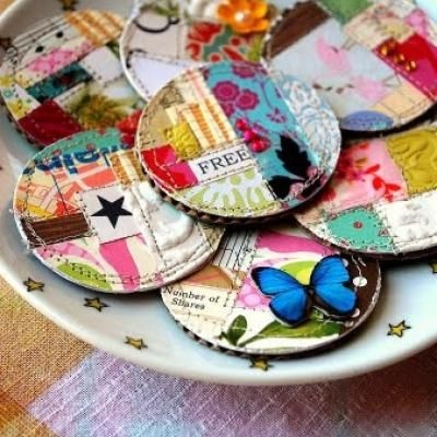 Scrapbook paper magnets - what a great idea for paper scraps!