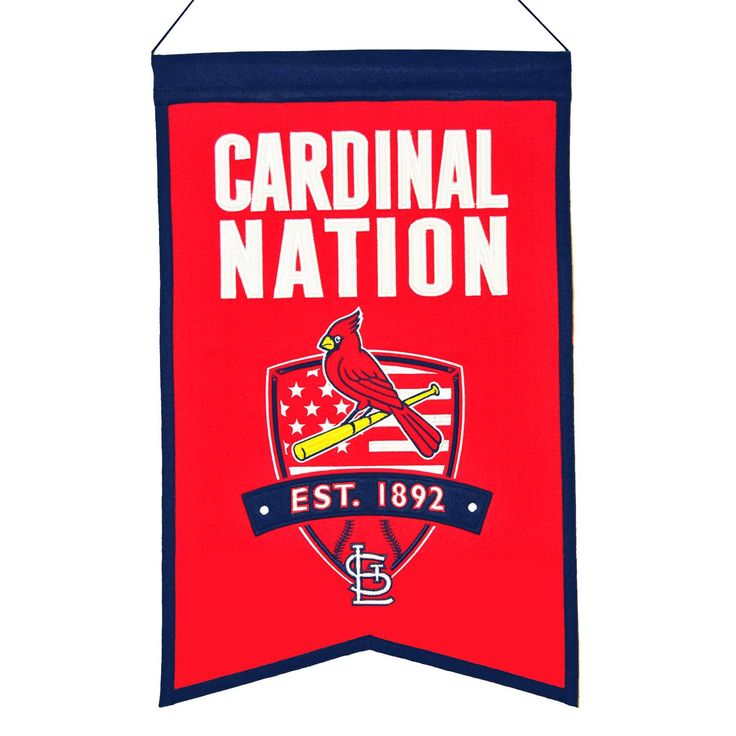 """This 14"""" x 22"""" beautifully embroidered banner celebrates a fan's love for the St. Louis Cardinals."""