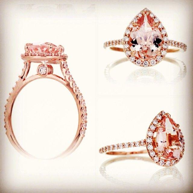 Pure + Pear + Perfection = PearFection wink emoticon    Halo Pear Shaped Morganite in Peachy Pink Capri Jewelers Arizonawww.caprijewelersaz.com