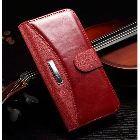 Luxury Crazy Horse Litchi Texture Stitching Wallet Leather Case for iPhone 6 Plus 5.5inch - Red US$13.99