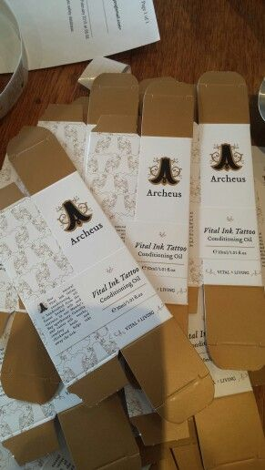 Preparing boxes for our Vital Ink Tattoo Conditioning Oil