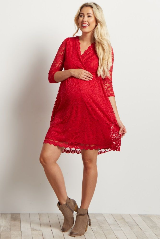 We are absolutely in love with this stunning lace overlay maternity dress. This flattering feminine silhouette is perfect for any occasion and will show off your bump perfectly. Not only is the scalloped lace trim on trend, but also makes this dress delicate and beautiful. You'll look gorgeous in this maternity dress paired with heels and a simple statement necklace for a stylish look.