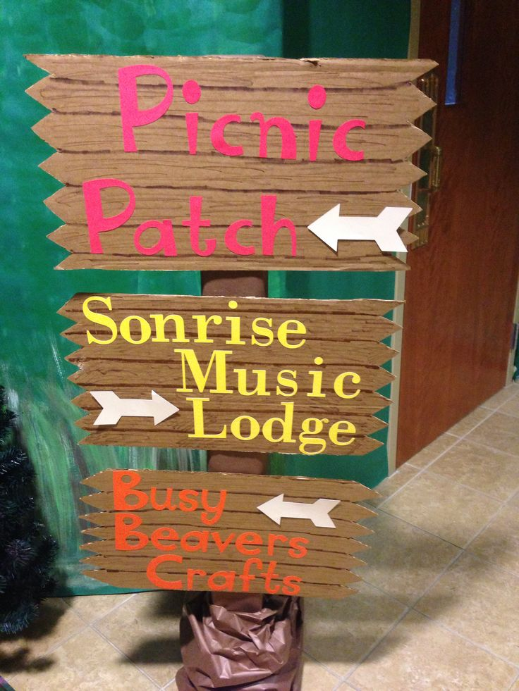 Direction signs for the different rotations at Sonrise National Park VBS 2014  First Baptist Church of Belfry