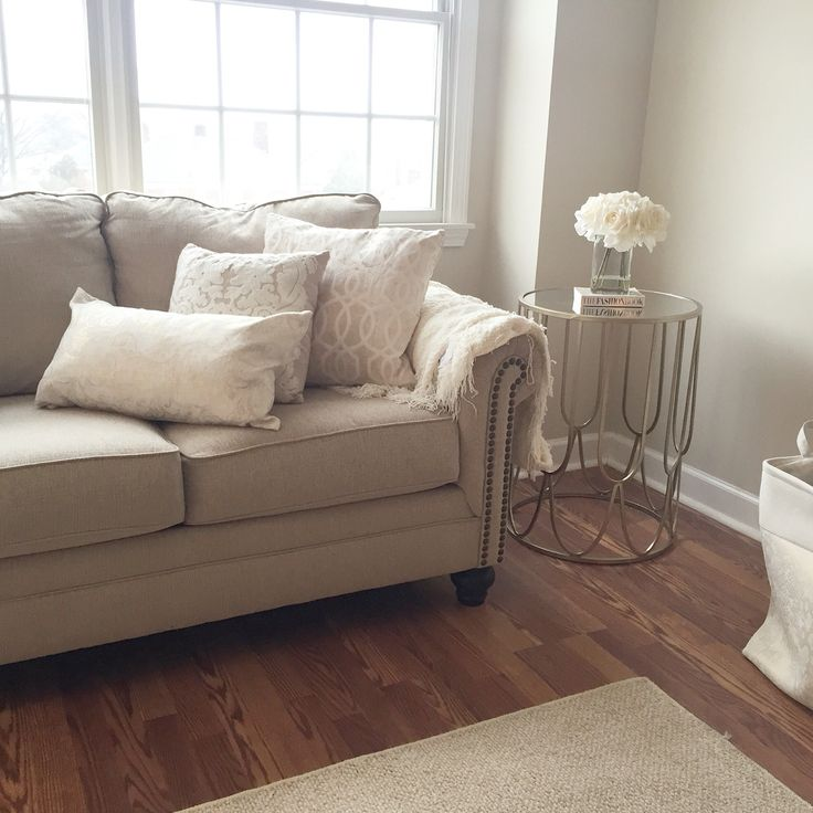 Cozy living room Warm beige and whites Paint color Calico Cream - cozy living room colors