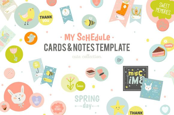 Cute Planners, cards, and stickers by Ruslana Vasiukova on @creativemarket