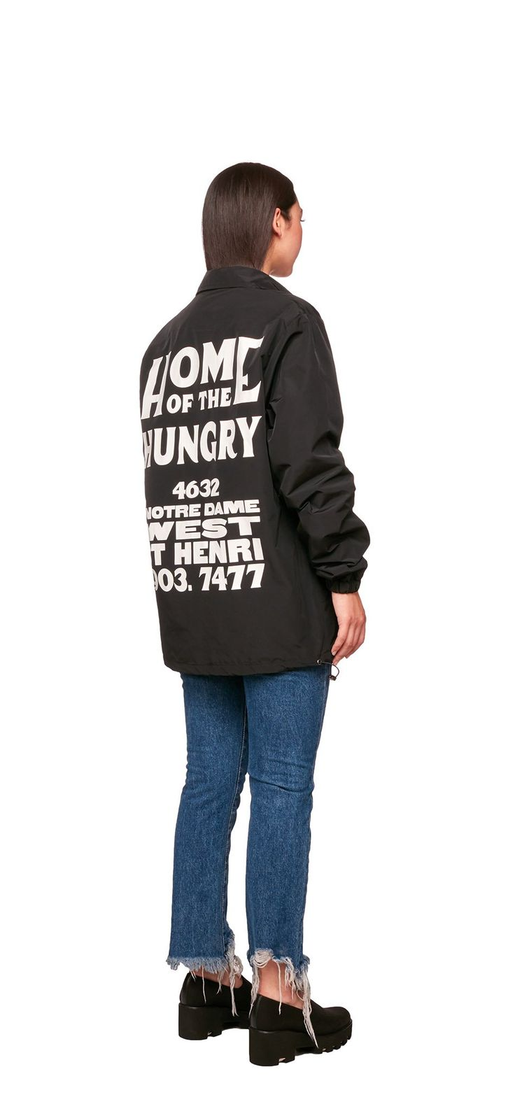 """Home Of The Hungry Team Jacket (Black) / Made of a lightweight nylon, this coach jacket features """"Home of the Hungry"""" artwork printed in white on back. #fw17"""