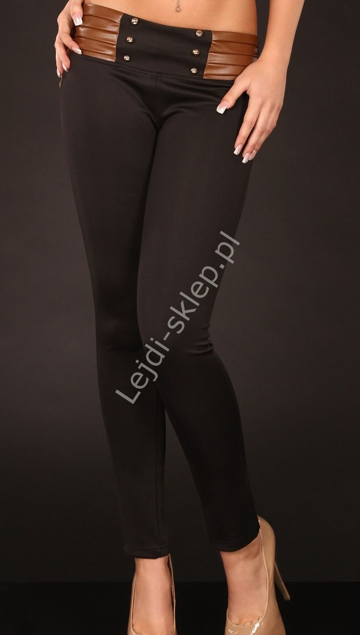 Spodnie rurki z grubej elastycznej tkaniny ze wstawkami z brązowej ekoskórki