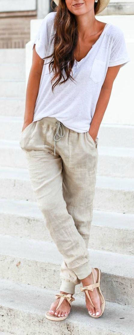 #spring #outfits  White Tee + Grey Wide Pants