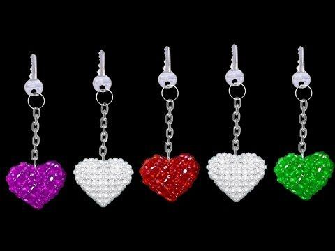 How To Make Crystal Beads Keychains At Home | DIY Home Made Keychains | ♥Heart♥ - YouTube