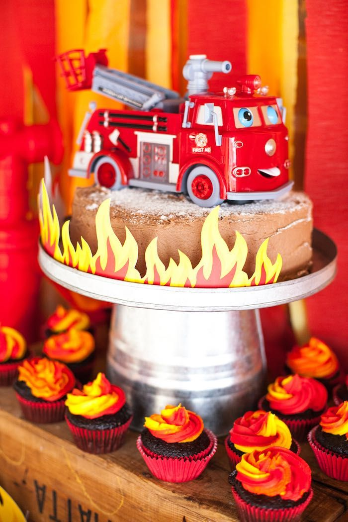 Cake from a Fireman Birthday Party via Kara's Party Ideas | KarasPartyIdeas.com (4)