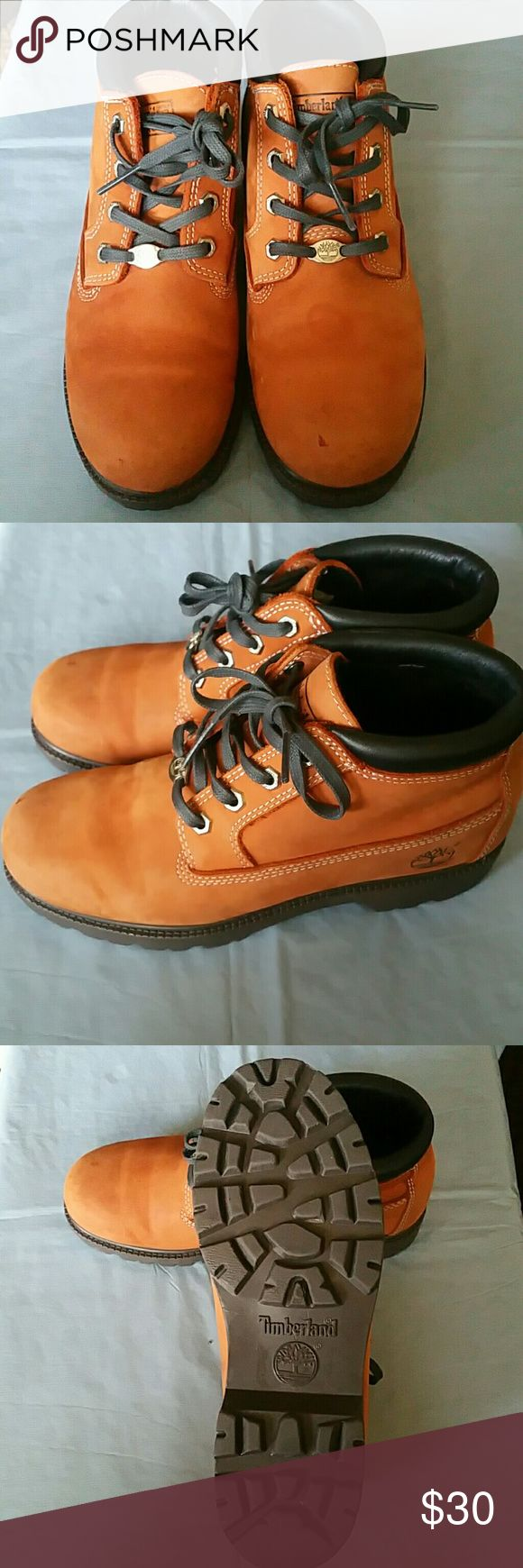WOMENS TIMBERLANDS Size 8 womens timberland boots orangish brown few scuffs on top shown in last pic...priced as is due to markings Timberland Shoes Combat & Moto Boots