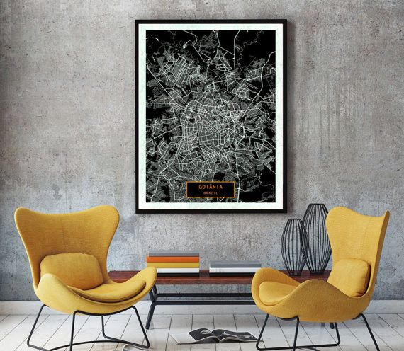 Goinia Brazil CANVAS Large Art City Map