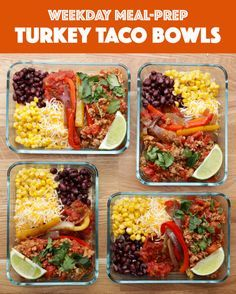 Weekday Meal-Prep Turkey Taco Bowls #TastyFreshFridays