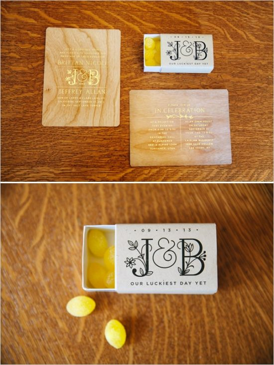 wooden wedding invites and customized candy boxes #uniqueweddinginvitations #favorboxes #weddingchicks http://www.weddingchicks.com/2014/01/08/natural-and-simple-wedding/