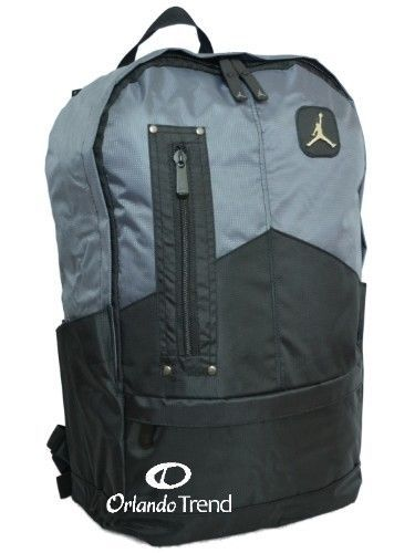 "Nike Air Jordan Backpack 15"" laptop black gray school book ..."
