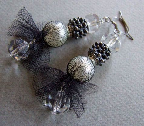 Pearl in tulle costume earrings with spark of Czech crystals, glamour earrings on Etsy, $26.00
