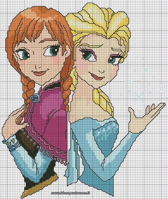 Anna & Elsa frozen cross stitch 3-6: