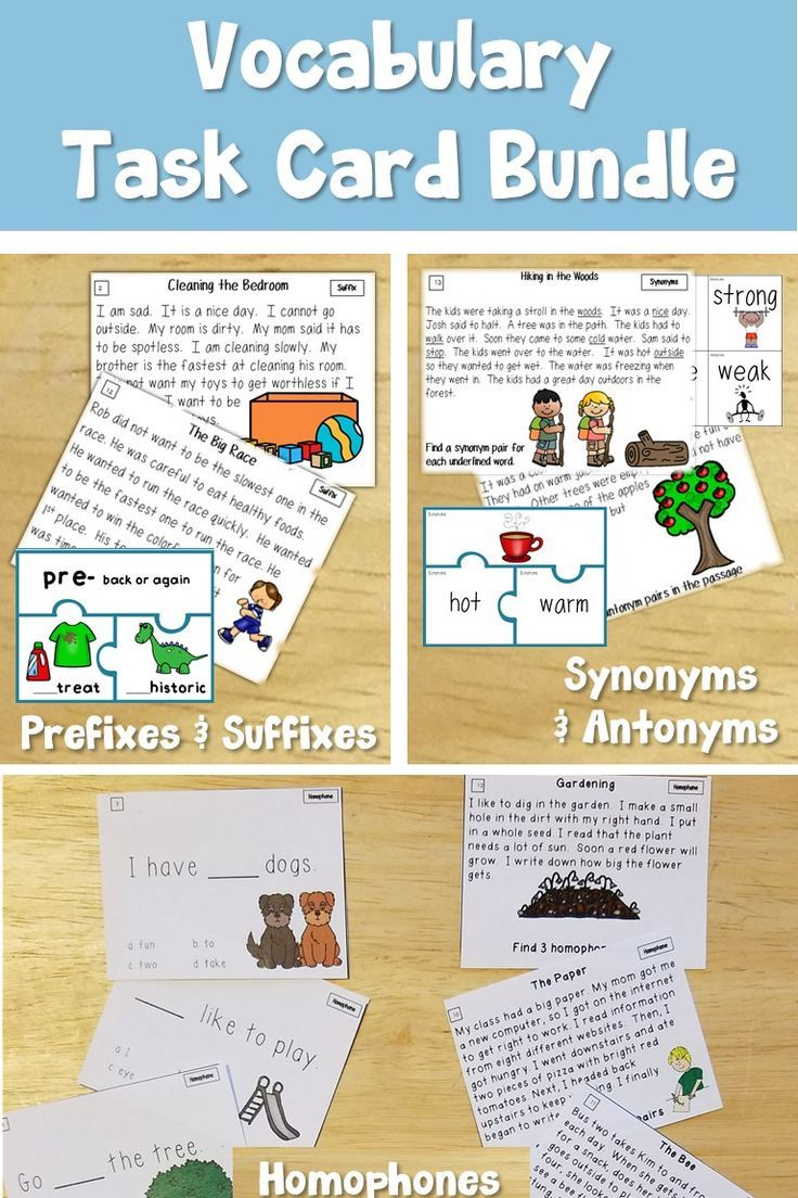 Vocabulary Task Cards For Prefixes And Suffixes Synonyms And Antonyms And Homophones The Visuals Help Vocabulary Task Cards Vocabulary Activities Vocabulary