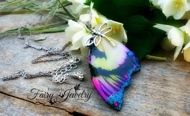 Collana ala di fata libellula argento multicolore, by Evangela Fairy Jewelry, 14,00 € su misshobby.com