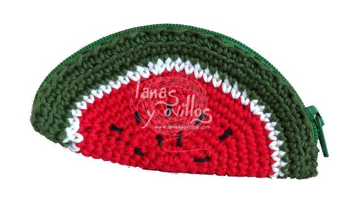 Monedero sandía crochet amigurumi patrón