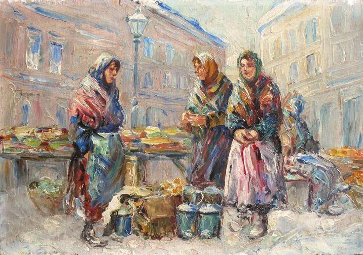 Erno ERB ,Przekupki na targu , olej, sklejka, 27 x 38,5 cm