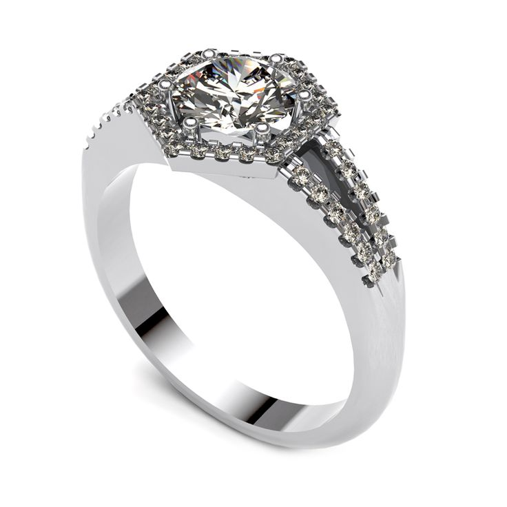 Diamond halo ring with diamond band.    www.uwekoetter.com