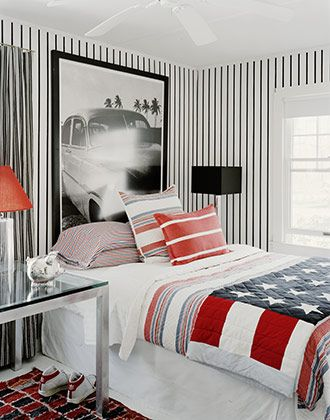 teen boys' room; like the big graphic poster.