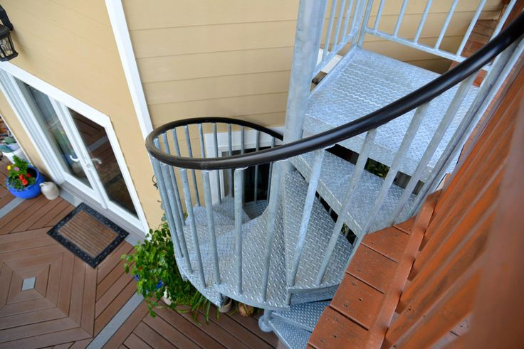 Galvanized Steel Spiral Stair With Diamond Plate Treads For A Non Skid Surface