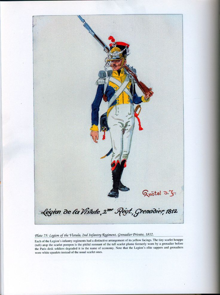 Foreign Troops: Plate 75: Legion of the Vistula, 2nd Infantry Regiment, Grenadier Private, 1812.