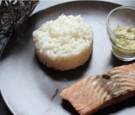 riz, saumon et sauce vanille/curry