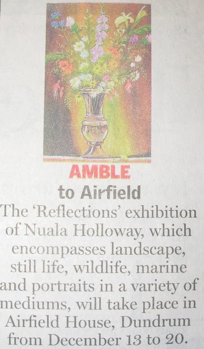 """FROM THE ARCHIVES: National coverage in the Sunday Independent from Nuala Holloway's 'Reflections' exhibition, held at Airfield House, Dundrum, Co. Dublin in December 2007 and launched by journalist and Senator Eoghan Harris who in his speech called Nuala """"the Nigella Lawson of Irish Art"""", referring to the """"sexiness"""" and """"energy"""" of her work."""