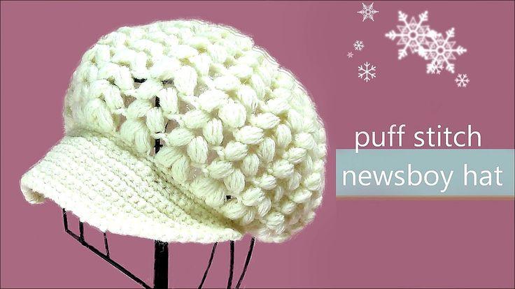 玉編みの帽子 ニットキャスケットの編み方  / How To Crochet * puff stitch newsboy hat (casque...