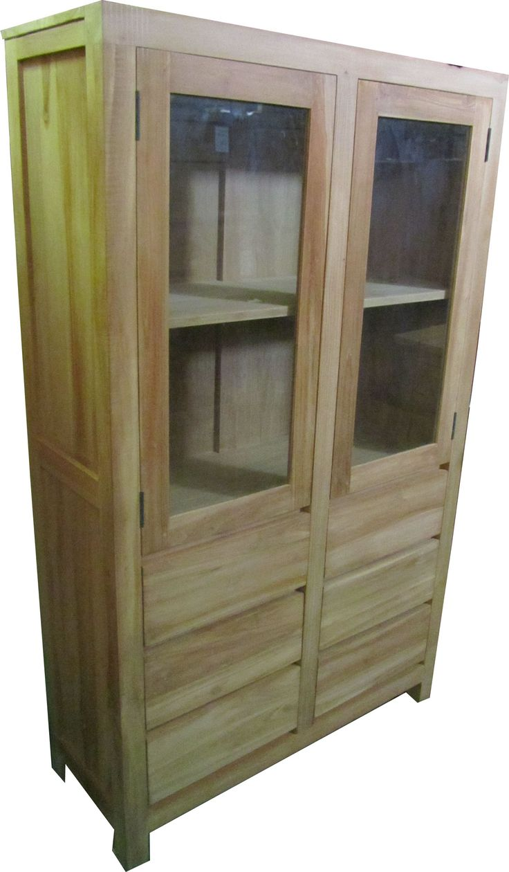 Teak vitrine kast boekenkast Gouda 2 deuren 6 laden 90 cm Teak Vitrinekast Buffetkast met 2 deuren en 6 greeploze laden Ook in andere maten verkrijgbaar!