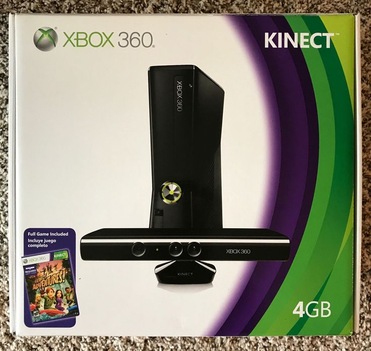 Microsoft Xbox 360 with Kinect 4GB Black Console (NTSC) Two Controllers