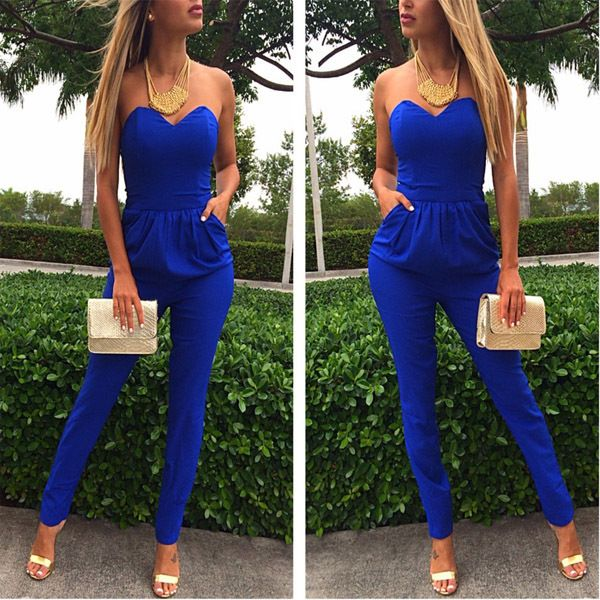 2015 New Fashion Ladies Jumpsuit Rompers Blue Pockets Pencil Long Strapless Playsuit Women's Bodysuit Overalls Slim Pants - http://www.freshinstyle.com/products/2015-new-fashion-ladies-jumpsuit-rompers-blue-pockets-pencil-long-strapless-playsuit-womens-bodysuit-overalls-slim-pants/