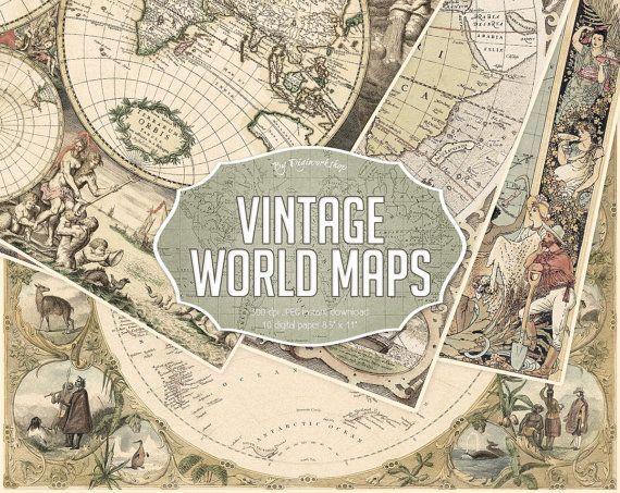 Vintage Maps Digital Paper  Vintage World Maps by DigiWorkshop