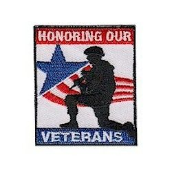 """Honoring Our Veterans Service Patch. The """"Honoring Our Veterans"""" service patch is not just for Veteran's Day. Any day is a good day to honor our Veterans. Available at MakingFriends®.com"""