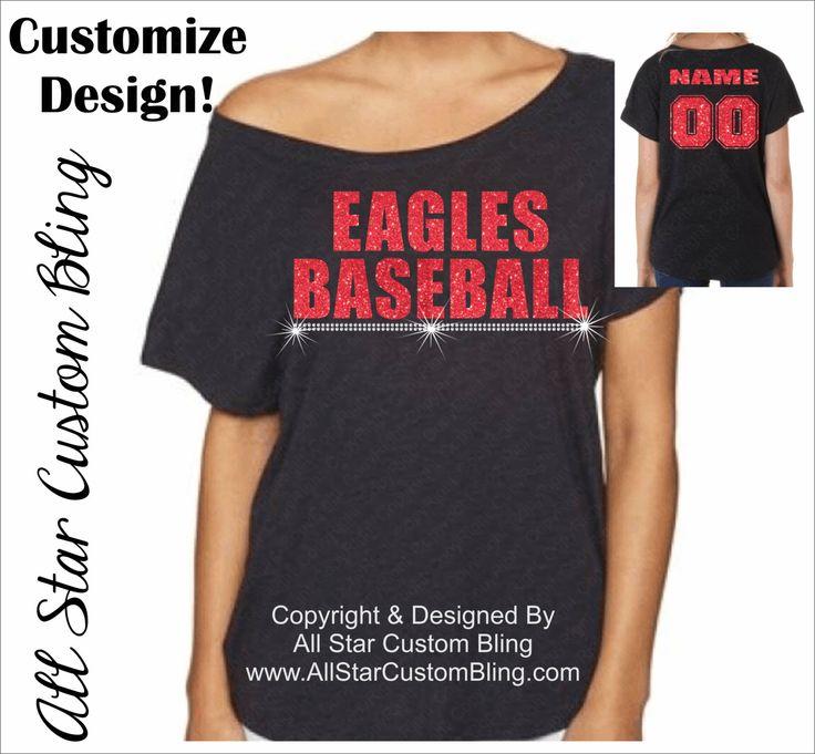 Custom Baseball Mascot Off Shoulder Dolman Shirt, Custom Baseball Tee, Mom Baseball Tshirt, Baseball Mom Tshirt, Baseball Mom Bling Shirt by AllStarCustomBling on Etsy