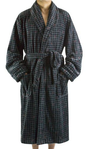 Mens Robes  - Pin it :-) Follow us .. CLICK IMAGE TWICE for our BEST PRICING ... SEE A LARGER SELECTION of Mens Robes at http://azgiftideas.com/product-category/mens-robes/ - men, gift ideas, mens wear -   Leisureland Men's Plush Coral Fleece Long Sleeve Robe Houndstooth Charcoal Gray « AZ Gift Ideas