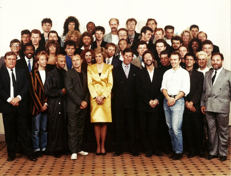 Princess Diana and Prince Charles with the artists who performed at the Prince's Trust Rock Concert, 1988 - including Barry, Maurice and Robin Gibb, Phil Collins, Eric Clapton, Rick Astley, Peter Gabriel and many more ....