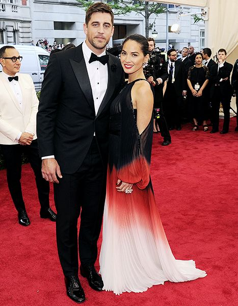 Aaron Rodgers and Olivia Munn at the 2015 MET Ball