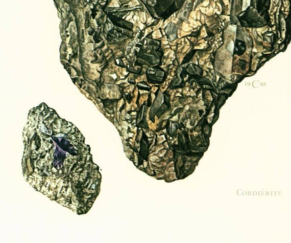 #Cordierite (mineralogy) or #iolite (gemology) is a magnesium iron aluminium cyclosilicate. Geological Wall Art. Antique Mineralogy Print. Mineral wall art. Vintage geology a... #堇青石