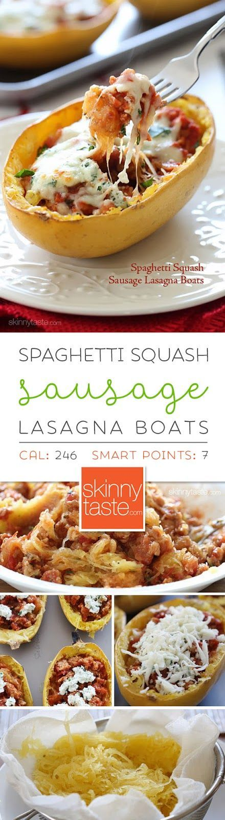 Spaghetti Squash Sausage Lasagna Boats. Servings: 6 • Size: 1 boat • Points +: 8 pts • Smart Points: 7 Calories: 246 • Fat: 13 g • Protein: 17 g • Carb: 17 g • Fiber: 2 g • Sugar: 7 g  Sodium: 701 mg • Cholesterol: 71 mg