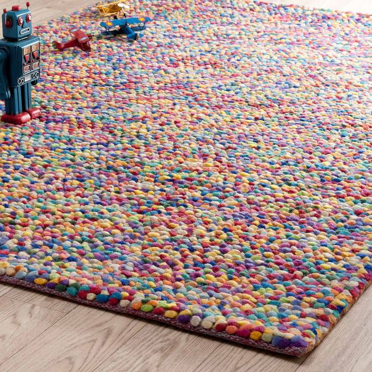 RAINBOW woollen rug, multicoloured 140 x 200cm