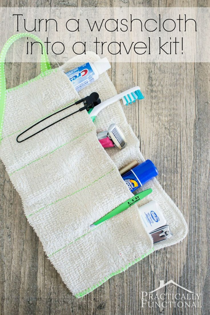 Turn a washcloth into a DIY travel kit for your toiletries! This step-by-step tutorial will show you how, and there are two no-sew options as well if you don't sew!