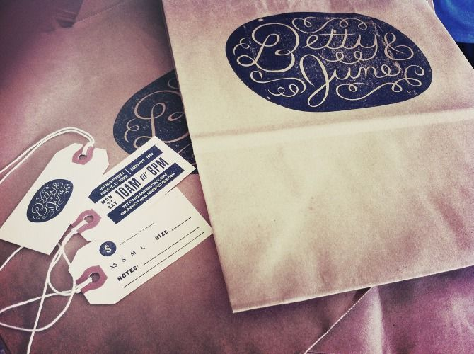 Betty & June  branding and packaging in Abilene, Texas by Ryan Feerer. All of the bags, tags, and business cards are hand stamped.