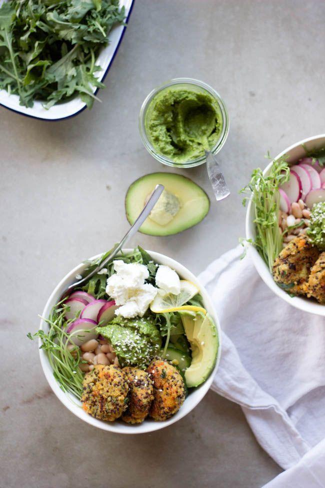 Quinoa Baby Cakes with Herbed Tahini {vegan + gluten free}