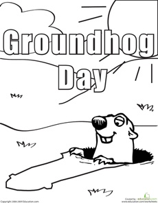 Color the Groundhog Day Groundhog Worksheet