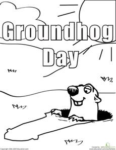 Color the Groundhog Day Groundhog Worksheet
